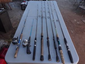 Assorted fishing poles for sale some with reels some have tip damage Garcia Shimano Daiwa $7 each for Sale in Wildomar, CA