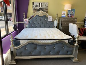 *NO CREDIT NEEDED* SILVEE GREY VELVET QUEEN BEDROOM SET!!! EVERYTHING INCLUDED!!! EASY FINANCE!!!! for Sale in Raleigh, NC