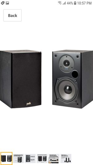 Polk Audio T15 100 Watt Home Theater Bookshelf Speakers – Hi-Res Audio with Deep Bass Response | Dolby and DTS Surround |Pair, Black for Sale in Coal City, IL