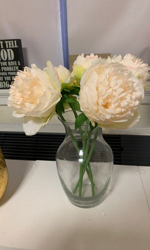 Flower and glass vase for Sale in Boston, MA