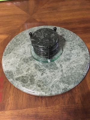 Green marble stone and 6 coasters. for Sale in Alexander, AR