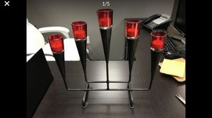 Iron and Red Glass Designer Votive Holder for 5 Candles Comes with Battery Operated Lights and Will Include Fresh Batteries for Sale in Las Vegas, NV