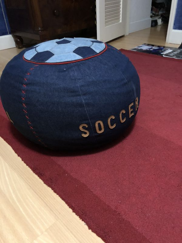 Kid size sports themed denim beanbag chair