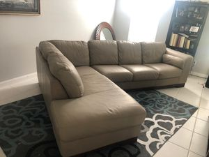 Tan leather sectional couch sofa for Sale in Jupiter, FL