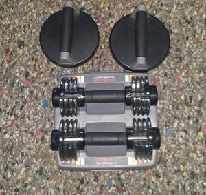 Weider speedweight 25. Adjustable dumbell set. Goes from 2.5lbs-12.5lbs each dumbbell. perfect pushups. for Sale in Deerfield Beach, FL