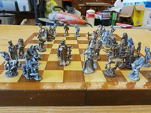 Chess set real crystals peweter for Sale in Peoria, IL