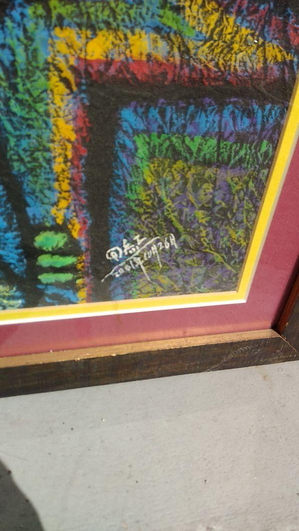 Unusual Original Mixed Media Signed Painting