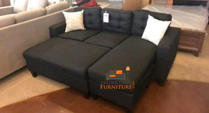 Brand new black linen sectional sofa with ottoman for Sale in Kensington, MD