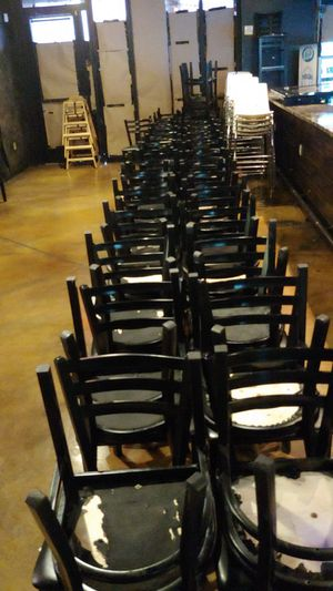 Restaurant furniture and supplies lots to choose from over 45 tables a hundred chairs glasses dishes we got it all inside tables outside tables for Sale in Phoenix, AZ