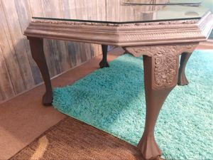 2 grey solid wood custom painted carved end table or nightstands for Sale in Renton, WA