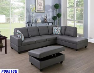 New Dark Grey sectional with Ottoman for Sale in Puyallup, WA