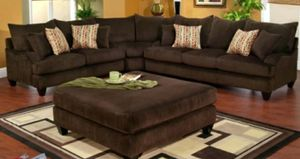 Brown Cordory Sectional With Ottoman for Sale in Clovis, CA