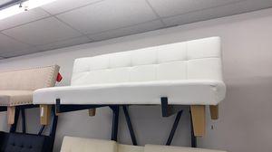 White faux leather futon sofa for Sale in Houston, TX
