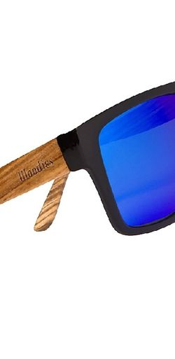 WOODIES ZEBRA WOOD AVIATOR WRAP SUNGLASSES WITH BLUE POLARIZED LENSES for Sale in Woodbridge,  VA