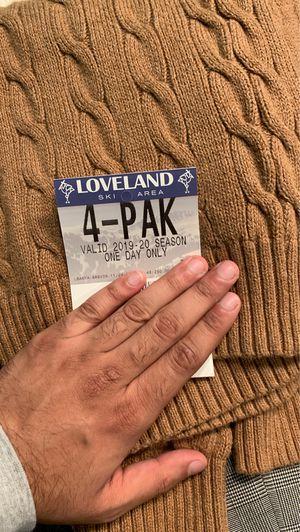 Loveland full day ski pass (4 pack) for Sale in Silverthorne, CO
