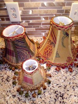 3 Nice Lamp Shades Plade w/tossels for Sale in Oklahoma City, OK