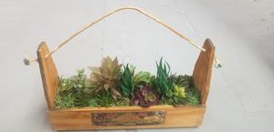 Faux succulent crate for Sale in Sellersville, PA