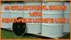 💥💥55 GALLON STEEL DRUMS💥w/REMOVABLE LIDS & STEEL RING/BOLT CLOSURE💥💥 for Sale in Goldsboro, NC