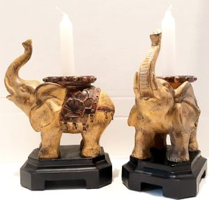 2 Elephant Candle Holders | Trunk up for Goodluck & Prosperity for Sale in Chesapeake, VA