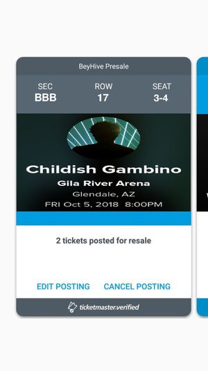 Childish Gambino October 5th 2018 GREAT SEATS!!!! for Sale in Payson, AZ