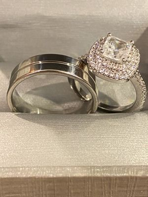 925 Sterling Silver Highly Sparkling Matching Ring Set ✨✨ -CodeYL560 for Sale in Dallas, TX