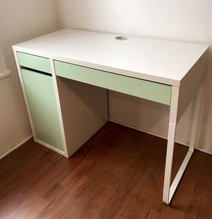 IKEA white/light green MICKE desk for Sale in Brooklyn, NY