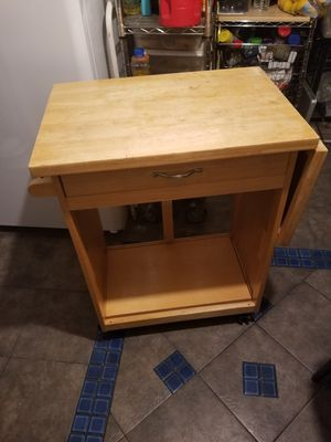 Wood table kitchen island with wheels for Sale in Hazard, CA