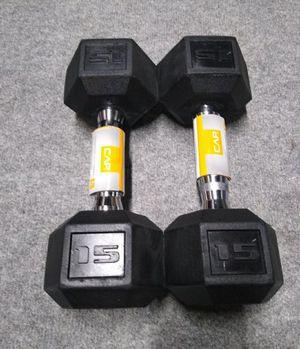 New w/ Tags Pair of 15 Lb Rubber Encased Hex Dumbbells ● Firm Price ● for Sale in Portland, OR