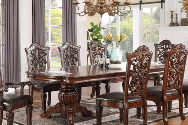 TRADITIONAL ORNATE CARVINGS CHAIRS CHERRY FINISH 9 PIECE FORMAL DINING ROOM TABLE SET LEAF DOUBLE PEDESTAL - COMEDOR MESA SILLAS for Sale in Ontario,  CA