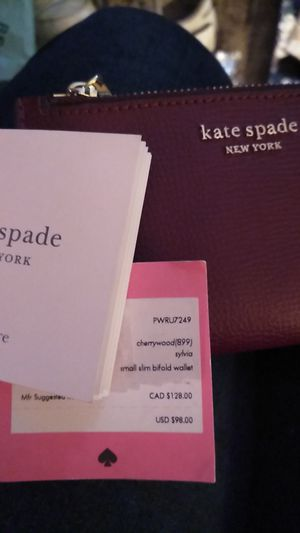 "Kate Spade Small Slim Bifold wallet in cherrywood - ""Sylvia"" for Sale in Millbrae, CA"