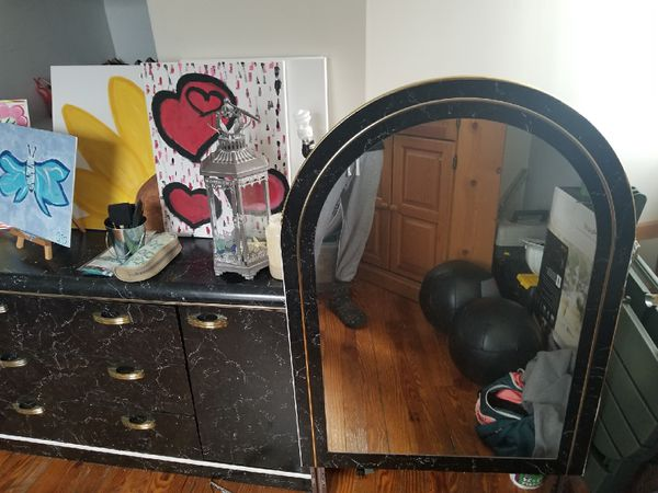 Dark marble look dresser with mirror