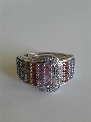 Genuine Multi-Sapphire Ring, Size 8, Platinum over Sterling Silver for Sale in Woodbridge, VA