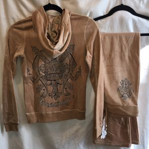 NEW CHRISTIAN AUDIGIER ED HARDY HOODIE JACKET SWEATER SWEAT PANTS - BROWN - XS •• See Tons COOL Authentic Items here ... for Sale in Las Vegas, NV