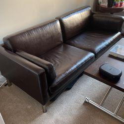 IKEA Dark Brown Leather Couch VA 19799 for Sale in Philadelphia,  PA