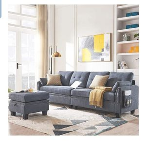 HONBAY Reversible Sectional Sofa Couch for Living Room L-Shape Sofa Couch 4-seat Sofas Sectional for Apartment Bluish Grey for Sale in Hacienda Heights, CA