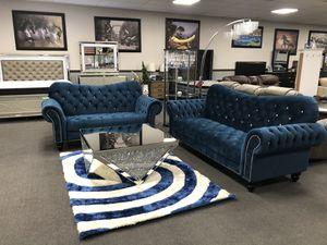 Navy Velvet Sofa & Love Seat on SALE 🔥 for Sale in Fresno, CA