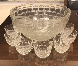 Punch bowl set with ladle with 17 cups for Sale in Germantown, MD