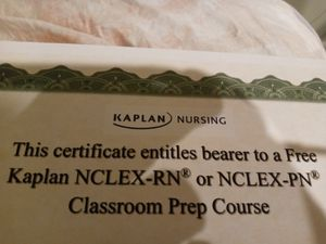 Rn prep course certificate for up to 499$ kaplan course wom at the student nurse convention of rhode island for Sale in Smithfield, RI