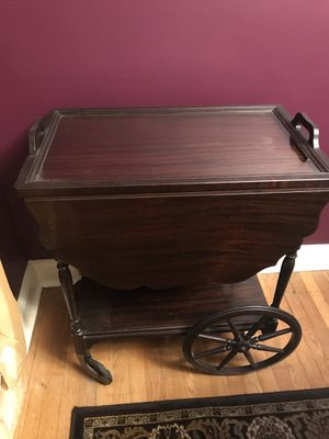 Antique walnut serving cart with glass top for Sale in Willow Grove, PA