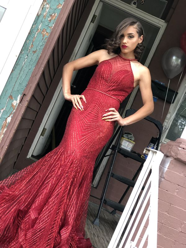 Sequins red mermaid prom dress
