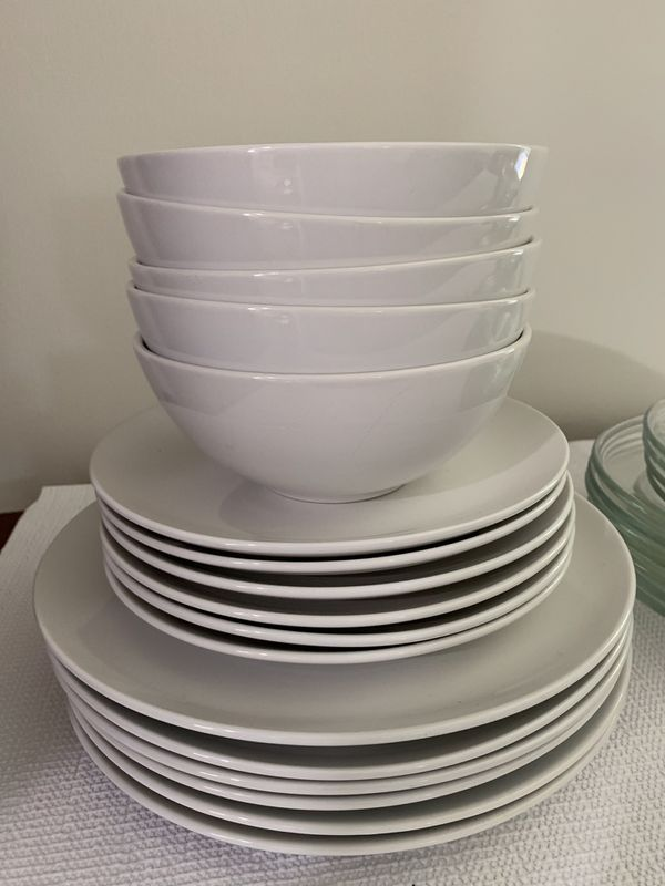 Dishes - white and glass plates and bowls