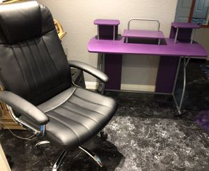 2 Tier Purple Desk with Office Chair for Sale in Las Vegas, NV