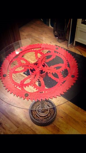 Round Table Glass Top. Made w Crank Shift Transmission Gears.Starter Gear.Brake Disks.Spinning Mount *Custom Made Glass Table Built with Car Parts* for Sale in Philadelphia, PA