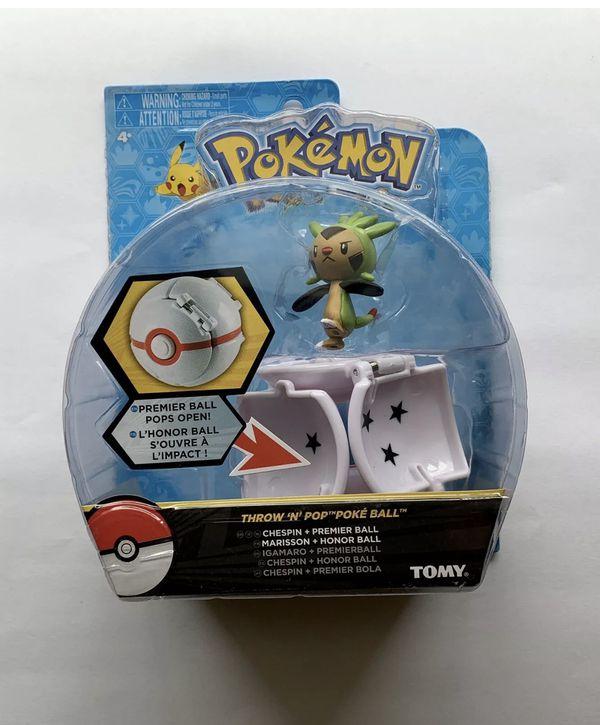 (4) POKEMON Throw N' Pop Poke Ball. Pikachu, Froakie, Chespin & Fennekin - TOMY