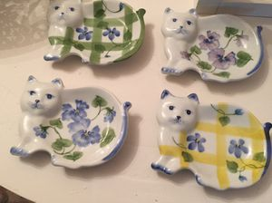 Ceramic cat tea bag dishes for Sale in White Plains, NY