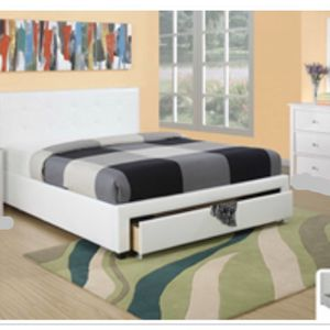 brand new queen white storage leather bed frame no mattress for Sale in Pompano Beach, FL