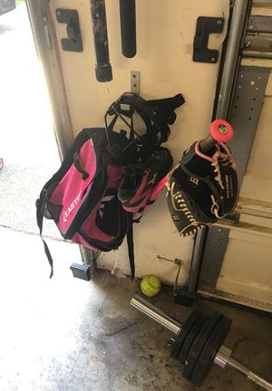 Softball gear. Size 1 1/2 gently used cleats. 27 inch bat. 10 1/2 inch glove. Easton bag and facemask. My daughter use them for one season for Sale in Vancouver, WA