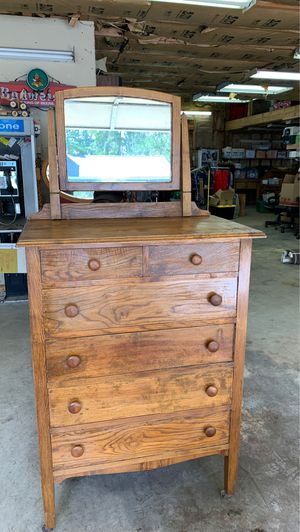 Antique 6 drawer dresser with mirror for Sale in Port Orchard, WA