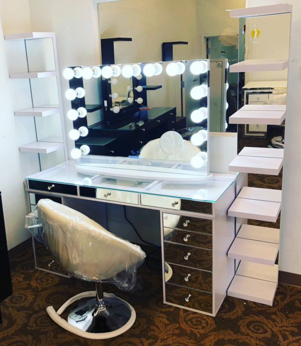 Vanity with Bluetooth mirror side selfs & chair NEW