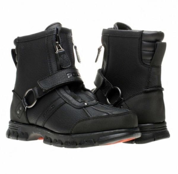 Like new! Mens Polo Ralph Lauren paid $175 size 8.5 like new! Only worn once. Conquest Hi II moto boots Black/red colorway Double-zip fronts. No iss